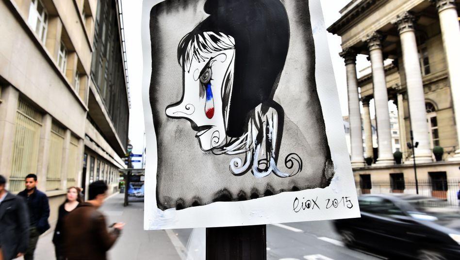 Der französische Zeichner Liox hat die französische Nationalfigur Marianne traurig, aber auch wütend gezeichnet.